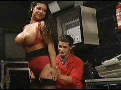 Busty Tiziana Redford in red lingerie german vintage porn from 90