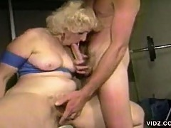 Blonde fatty sucks on stud's cock at the gym