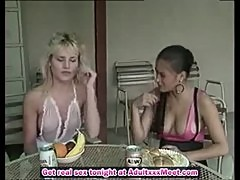 Lauryl Canyon and Nina DePonca testing rubbers