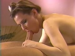 Spectacular Brunette Babe Sucks Cock and Gets Fucked - Classic Porn Clip