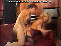 Vintage blonde in stockings hardcore pussy pounding