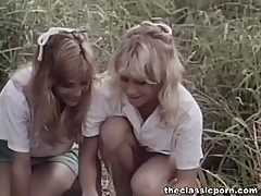 Classic porn in the forest with two horny ladies