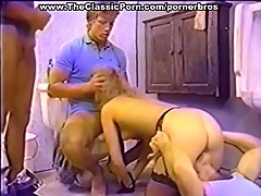 Vintage blonde babe takes on three dudes