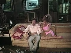Smoking hot curly babe Busty Belle gets banged on the couch