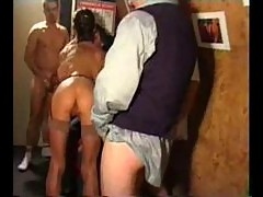 Classic porn group scene in adult shop