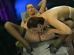 Classic porn scene with perfect lesbians
