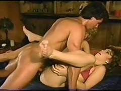 Classic porn scene with hairy pussy girls sucking and fucking