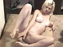 Blonde Roxy Rivers In A Vintage Clip Showing Her Masturbating With Dildo