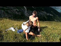 Blonde youngster fucked in the mountain top